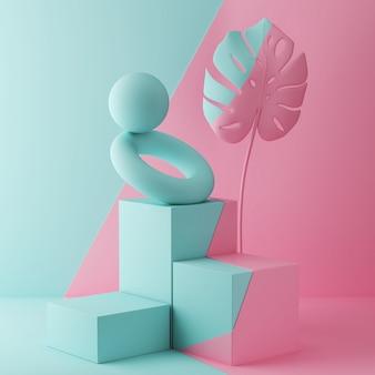 Representación 3d de fondo de color pastel con un podio de diseño para mostrar en una escena de estilo minimalista.