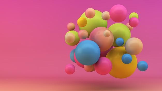 Representación 3d del fondo colorido de las esferas flotantes