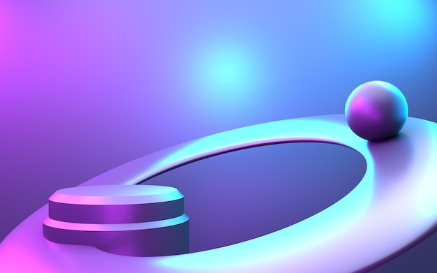 Representación 3d de fondo de concepto mínimo abstracto púrpura y azul