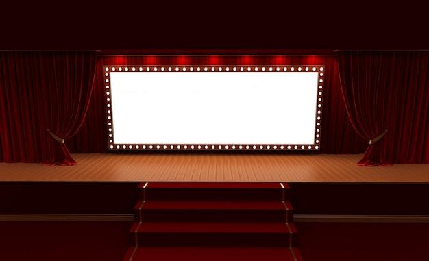 Representación 3d del fondo con una cortina roja y un proyector. festival de cartel de espectáculo nocturno.