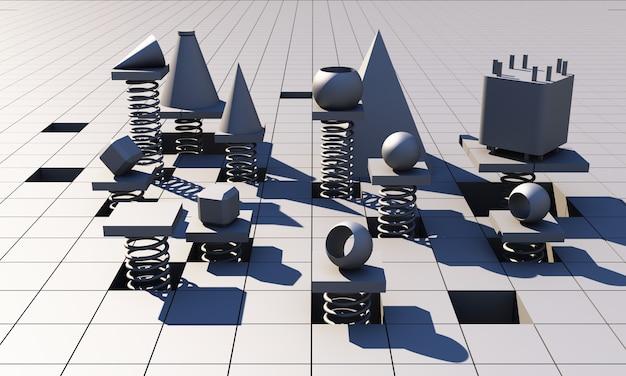 Representación 3d fondo cuadrado geométrico gris abstracto. patrón cuadrado gris minimalista futurista con luz suave y sombras