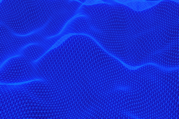 Representación 3d, fondo digital abstracto paisaje digital con puntos de partículas sobre fondo negro, low poly sobre fondo negro