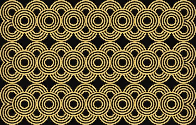 Representación 3d. fondo de diseño de pared de patrón de anillo de círculo dorado transparente lujoso moderno.
