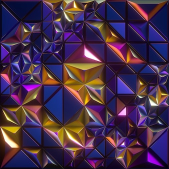 Representación 3d, fondo facetado abstracto, textura metálica azul amarillo iridiscente, papel pintado cristalizado geométrico de la moda, concepto moderno