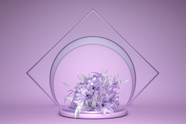 Representación 3d de fondo de flores púrpura, color violeta en concepto mínimo de podio de forma geométrica, elementos pastel
