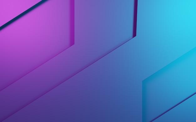 Representación 3d de fondo geométrico abstracto púrpura y azul. concepto cyberpunk