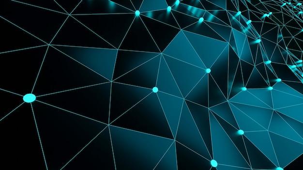 Representación 3d fondo geométrico azul abstracto moderno concepto creativo de redes con polígonos, espacios en blanco, puntos de baja poli, conexiones.
