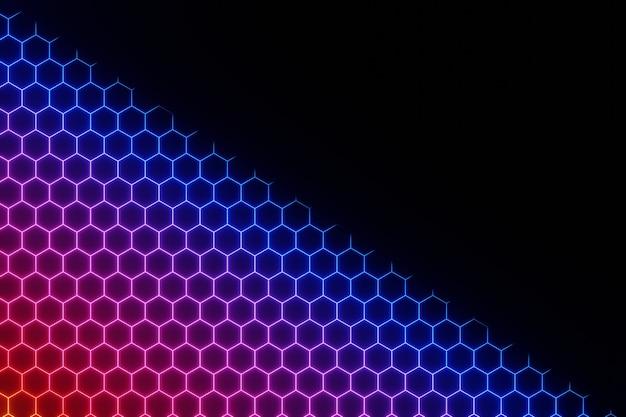 Representación 3d del fondo del hexágono eléctrico de neón que brilla intensamente colorido abstracto