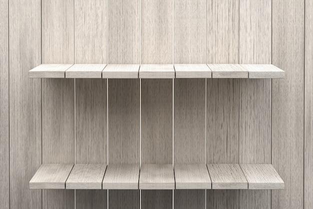 Representación 3d, fondo de mesa de madera de estante blanco para exhibición de producto, fondo de textura de madera blanca