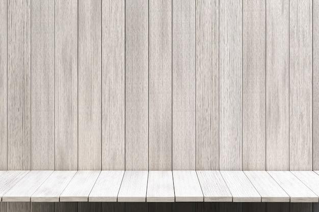 Representación 3d, fondo de mesa de madera de estante blanco para exhibición de productos