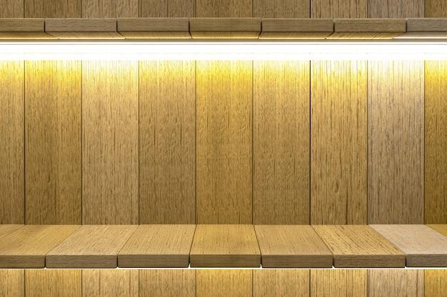 Representación 3d, fondo de mesa de madera de estante para exhibición de productos, fondo de textura de madera