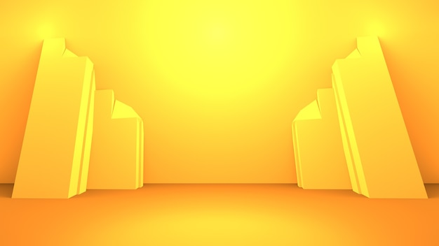 Representación 3d de fondo mínimo abstracto naranja amarillo vacío. escena para diseño publicitario.