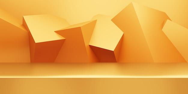 Representación 3d de fondo mínimo abstracto de oro vacío con forma geométrica