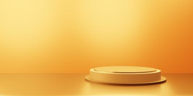 Representación 3d de fondo mínimo abstracto de oro vacío con podio