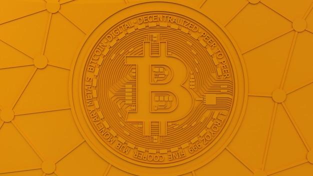 Representación 3d de un fondo naranja con el logotipo de bitcoin en una composición conceptual monocromática