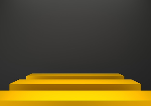 Representación 3d del fondo negro mínimo abstracto del podio del oro.