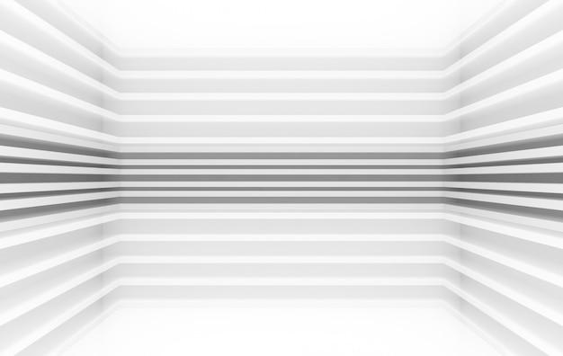 Representación 3d, fondo de pared de esquina de diseño de patrón de paneles gris paralelo moderno