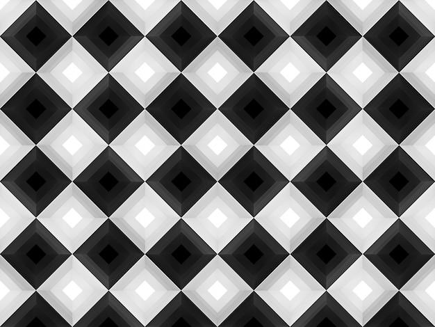 Representación 3d fondo de pared de patrón de arte cuadrado cuadrícula blanco y negro alternativo moderno sin costuras.