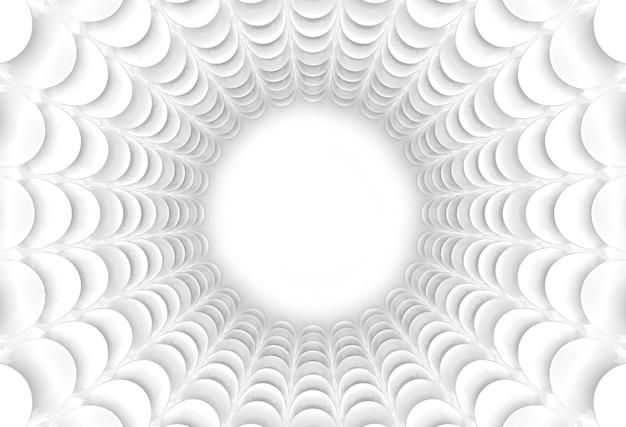 Representación 3d. fondo de pared de túnel de esfera blanca abstracta.