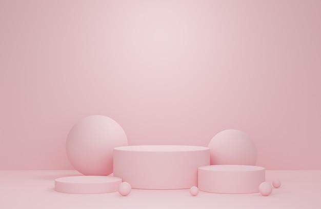Representación 3d. fondo de podio para presentación y publicidad de productos cosméticos.