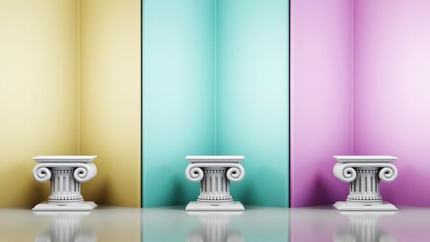 Representación 3d de fondo de producto en blanco para mostrar decoraciones de cosméticos de moda y crema. fondo de podio moderno para producto de lujo.