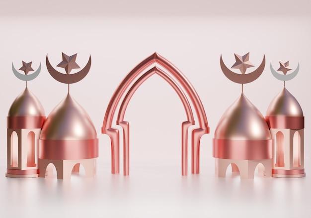 Representación 3d de fondo de ramadán