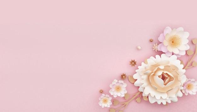 Representación 3d de fondo rosa abstracto con decoración de flores rosas