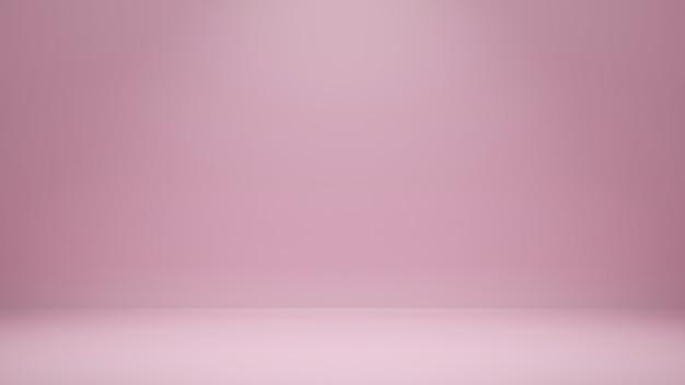 Representación 3d, fondo de sala de estudio de color rosa vacío con espacio de copia para producto de exhibición o sitio web de banner