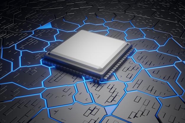 Representación 3d, fondo de tecnología unidad de procesador central de chipset de microprocesador concepto cibernético y futurista, hardware, ai, electrónica, con espacio de copia