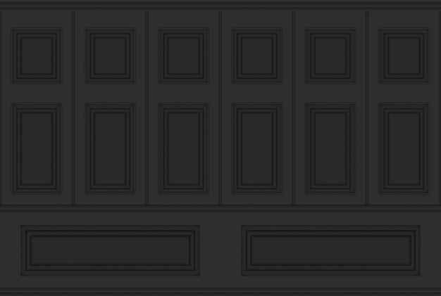 Representación 3d. fondo de textura de pared de diseño vintage de madera de patrón cuadrado clásico negro de lujo.