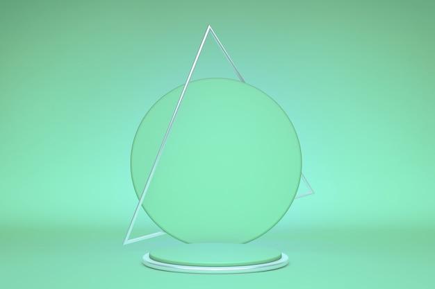 Representación 3d fondo verde pastel abstracto cartel en blanco tienda exhibición de productos soporte de vitrina podio vacío pedestal vacío escenario redondo con marco triangular