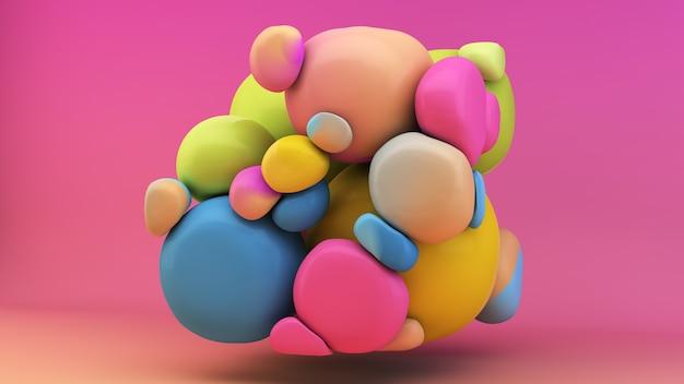 Representación 3d de la forma abstracta de plastercine