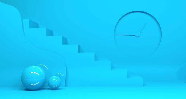 Representación 3d de forma geométrica de color azul verde azulado abstracto