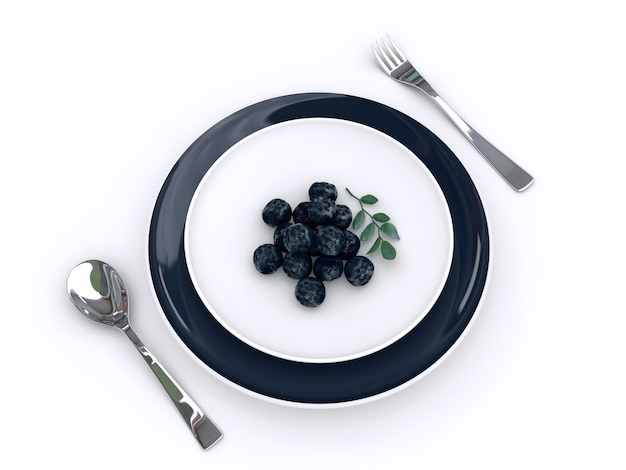 La representación 3d de la fruta de acai de amazon