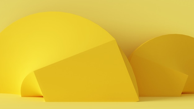 Representación 3d de geometría abstracta de color amarillo en el mismo fondo