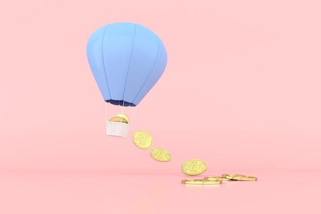Representación 3d de globo aerostático y caída de criptomoneda bitcoin.