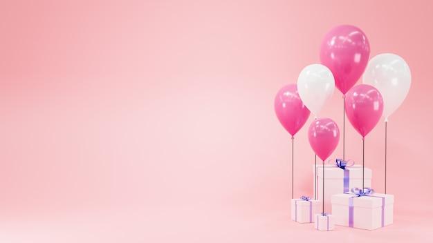 Representación 3d. globo blanco y rosa con caja de regalo blanca sobre fondo rosa.