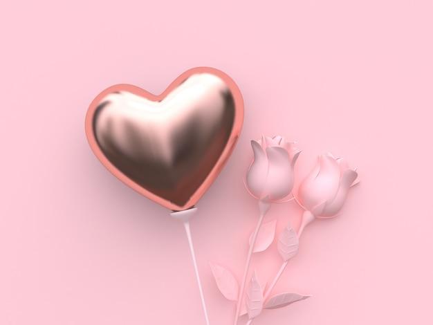 Representación 3d de globo en forma de corazón y rosas rosadas