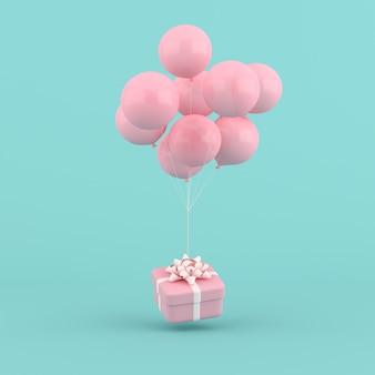 Representación 3d de globos y caja de regalo redonda. concepto mínimo.