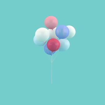 Representación 3d de globos de colores en el aire.