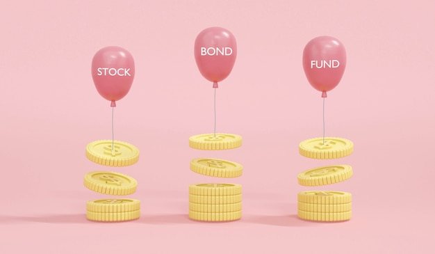 Representación 3d de globos flotantes con fondo de acciones de bonos de palabra tomando moneda de dinero en concepto de fondo de diversificación de cartera de dinero, inversión, decisión de inversión. render 3d. ilustración 3d.