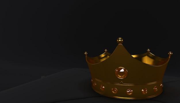 Representación 3d de golden crown en un fondo negro, royal gold crown en almohada