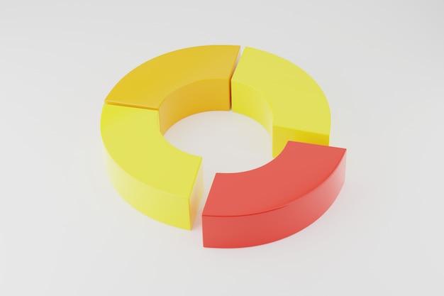 Representación 3d gráfico de anillo de círculo para infografías.