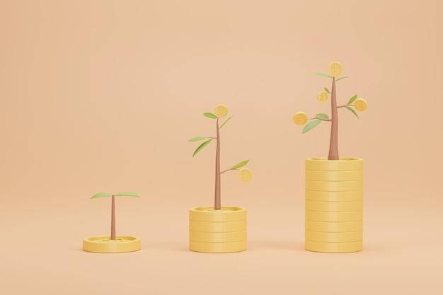 Representación 3d. gráfico de crecimiento de pila de monedas con árbol. concepto de banco de inversión empresarial.