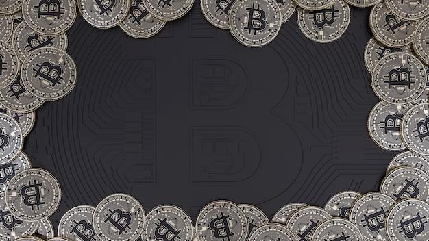 Representación 3d de una gran cantidad de bitcoins dorado y negro metálico sobre negro