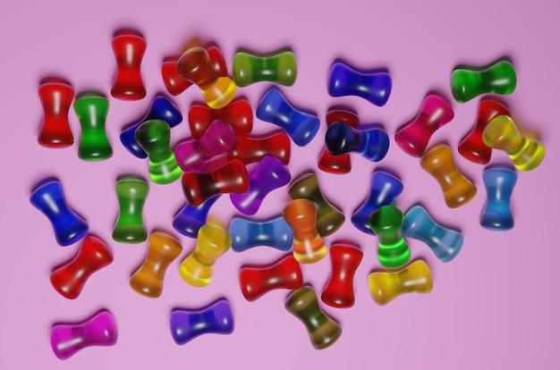 Representación 3d de una gran cantidad de caramelos de gelatina
