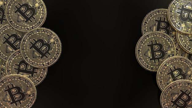 Representación 3d de una gran cantidad de monedas metálicas de oro y negro bitcoin sobre negro