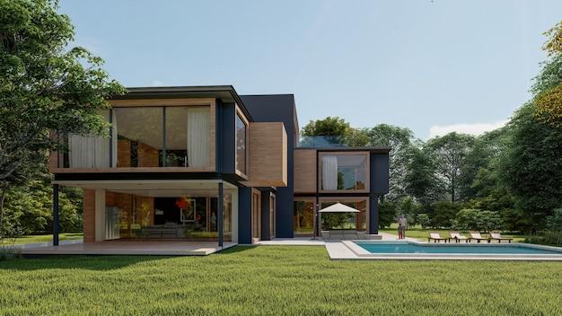 Representación 3d de una gran casa moderna y contemporánea en madera y hormigón.