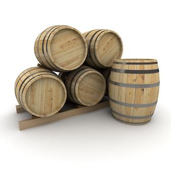 Representación 3d de un grupo de barriles de vino sobre un fondo blanco.