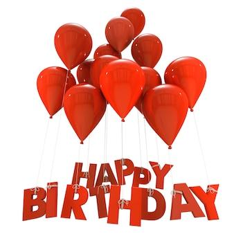 Representación 3d de un grupo de globos con las palabras feliz cumpleaños colgando de las cuerdas en tonos rojos